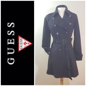 🆕Guess wool blend military belted trench coat NEW
